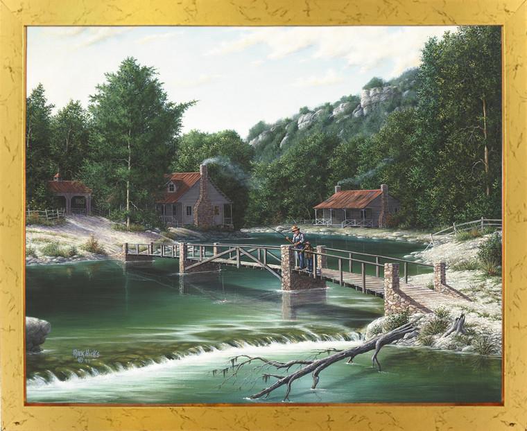 Gone Fishing Rustic River Bridge Landscape Wall Decor Golden Framed Art Print Poster (18x24)