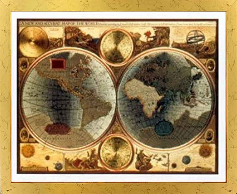 A New and Accvrat Map of the World Vintage Golden Framed Wall Decor Art Print Poster (18x24)