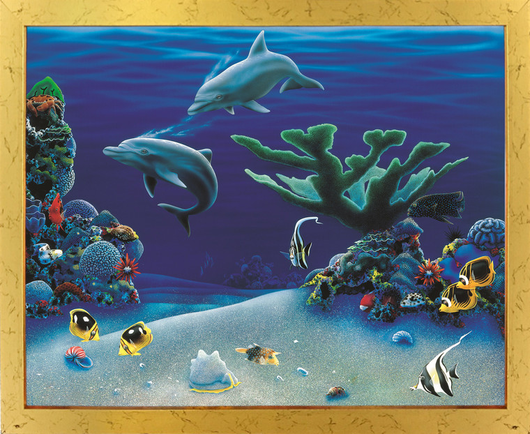 Tropical Fish & Dolphins Coral Reef Underwater Ocean Animal Golden Framed Wall Decor Art Print Poster (18x24)