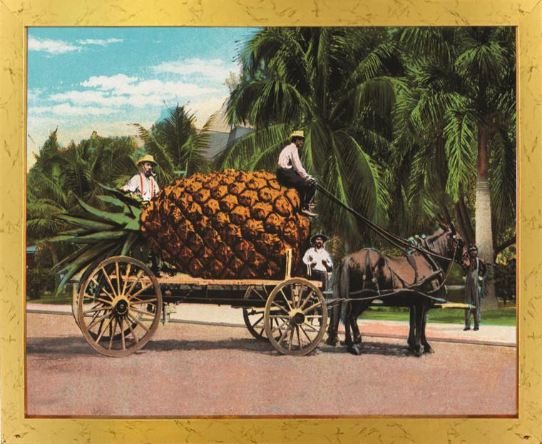 Pineapple Fruit Cart and Trees Wall Decor Golden Framed Art Print Poster (18x24)