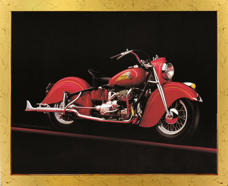 Vintage Red Indian Motorcycle Road master Wall Decor Golden Framed Art Print Poster (18x24)