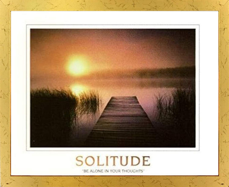 The Solitude of the Sea Sunset Inspirational Nature Golden Framed Wall Decor Art Print Poster (18x24)