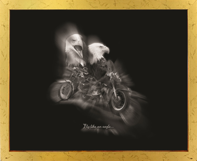"""Black and White Motorcycle """"Fly Like an Eagle"""" Golden Framed Wall Decor Art Print Poster (18x24)"""
