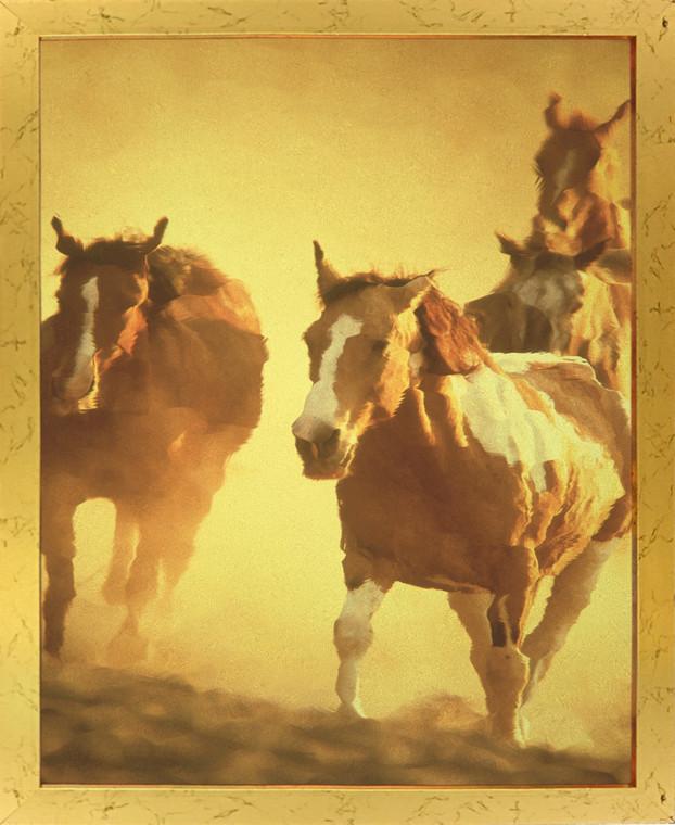 Horses Running In Group Wild Animal Golden Framed Wall Decor Art Print Poster (18x24)