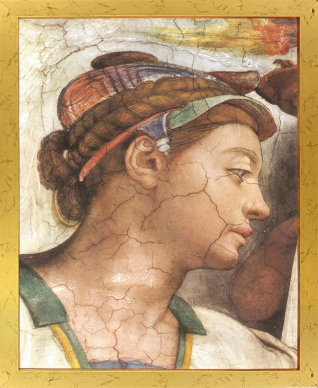 Michelangelo The creation of Adam Sistine Chapel Golden Framed Wall Decor Art Print Poster (18x24)