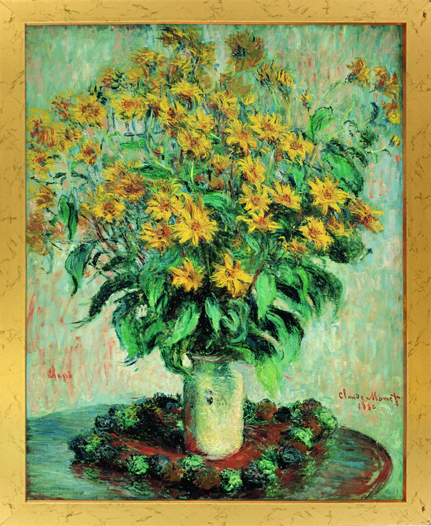 Claude Monet Sunflowers Floral Wall Decor Golden Framed Art Print Poster (18x24)