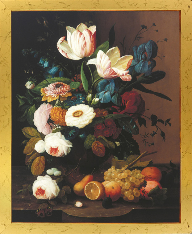 Bunch of Colorful Flowers With Fruits Still Life Wall Decor Golden Framed Art Print Poster (18x24)