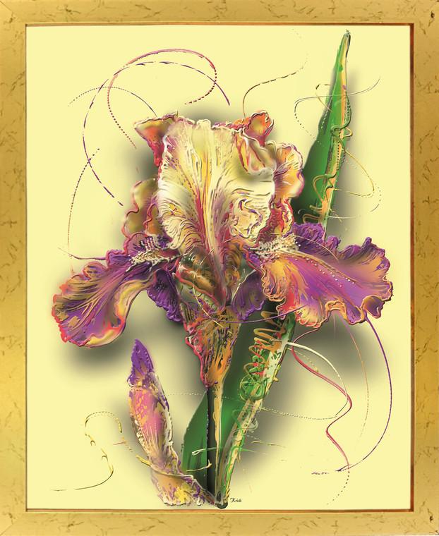 Tulip Flower Floral Fine Wall Decor Art Print Poster Golden Framed (18x24)