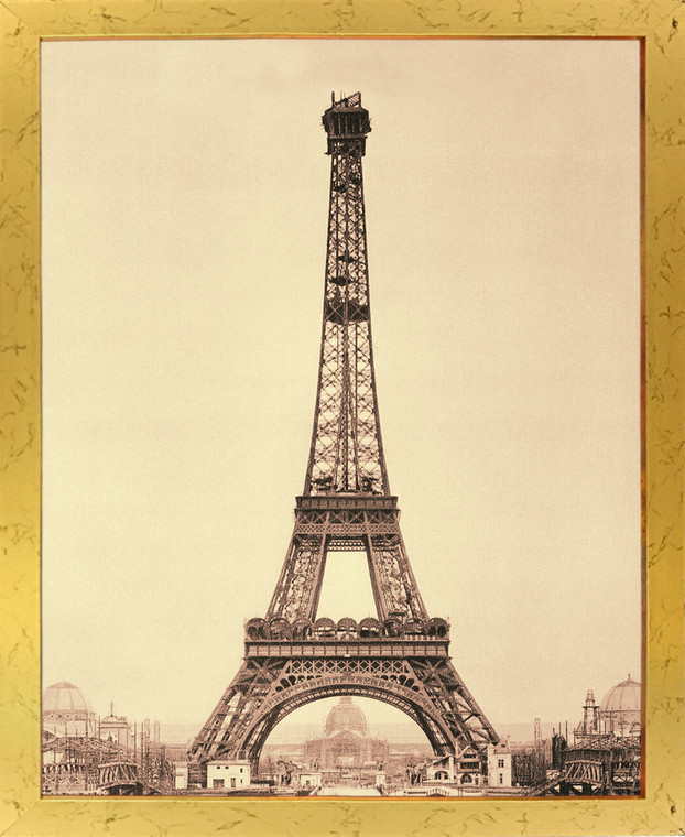 Vintage Paris Eiffel Tower Wall Decor Art Print Golden Framed Poster (18x24)