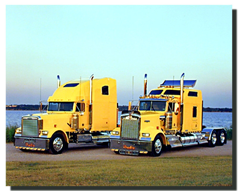 Yellow Kenworths Big Rig Trucks Poster