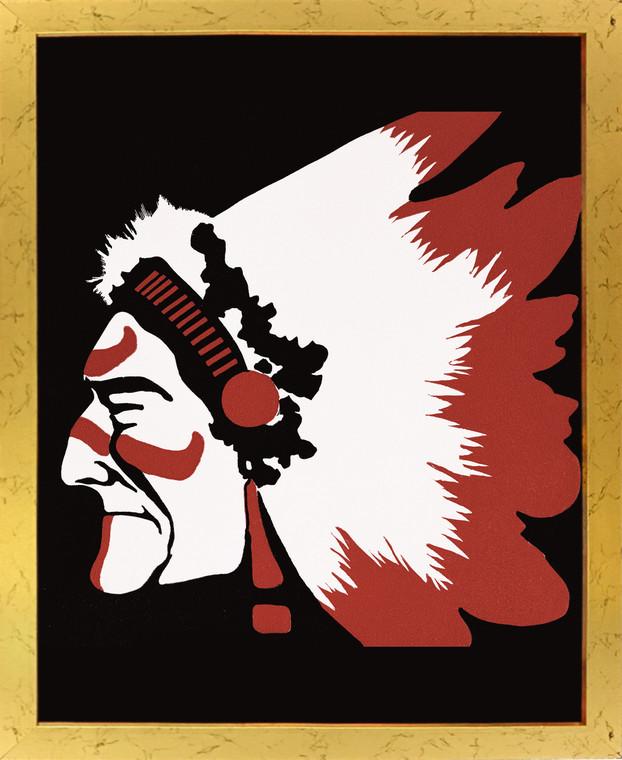 Vintage Native American Wall Decor Golden Framed Art Print Poster (18x24)