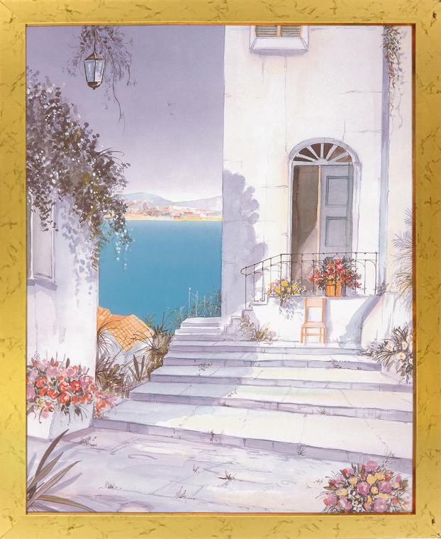 Mediterranean Views Seascape Picture Wall Decor Golden Framed Art Print Poster (18x24)