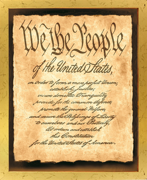 """Constitution of the United States """"We the People of the United States"""" Wall Decor Golden Framed Art Print Poster (18x24)"""
