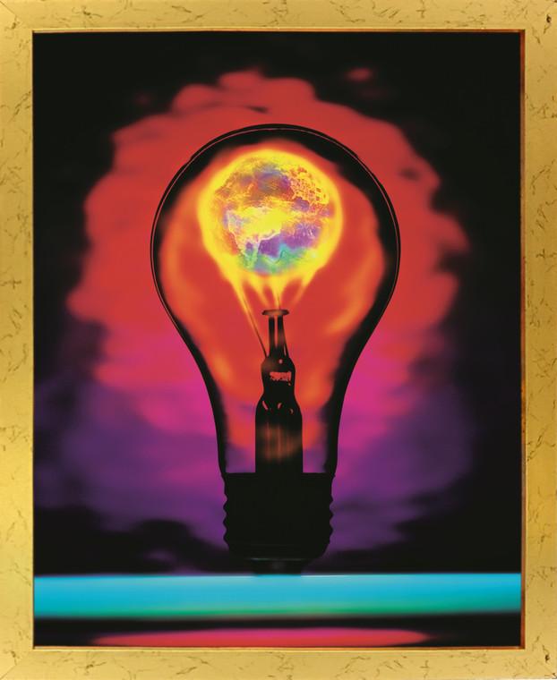 Idea Inspirational & Motivational Wall Decor Art Print Poster Golden Framed (18x24)