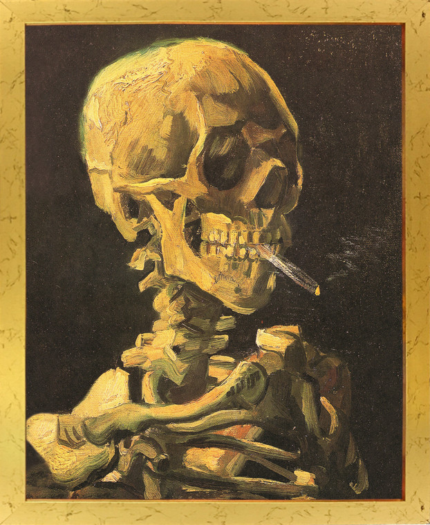 Don't Smoke Skeleton with Cigarette Vincent Van Gogh Wall Decor Golden Framed Art Print Poster (18x24)