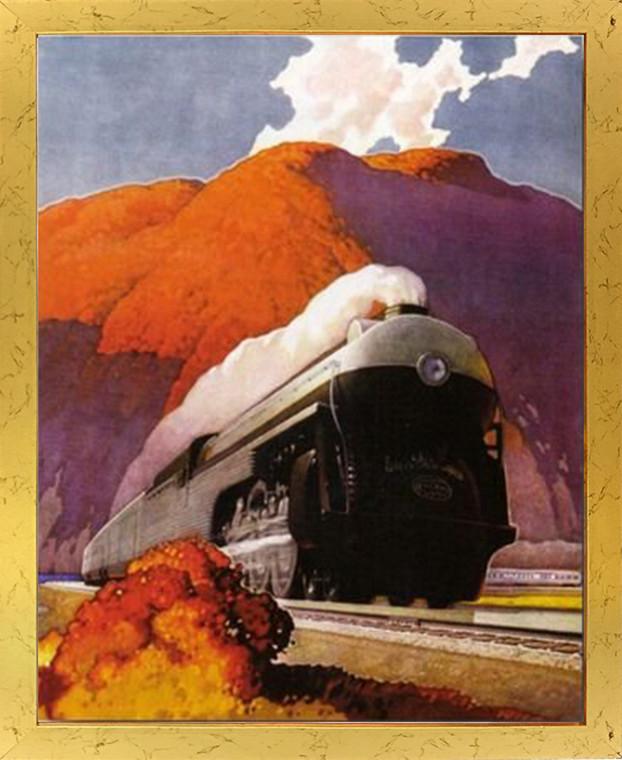 Vintage Mountain Express Train Wall Decor Golden Framed Art Print Poster (18x24)