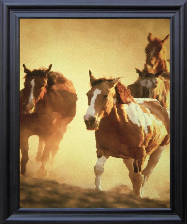 Horses Running In Group Wild Animal Wall D??cor Black Frame Black Framed Art Print Poster (19x23)