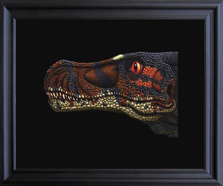 Dinosaur Velociraptor Kids Room Animal Wall D??cor Black Framed Art Print Poster (19x23)