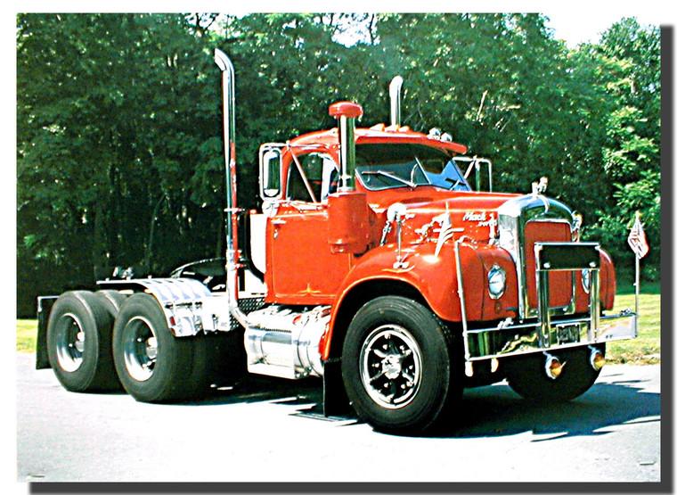 Red Mack Diesel Big Rig Truck Poster