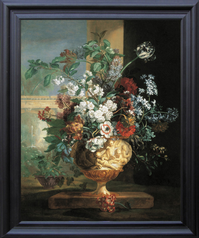 Bunch Of colorful Flowers in Cherubs Vase Floral Picture Wall Decor Black Framed Art Print Poster  (19x23)