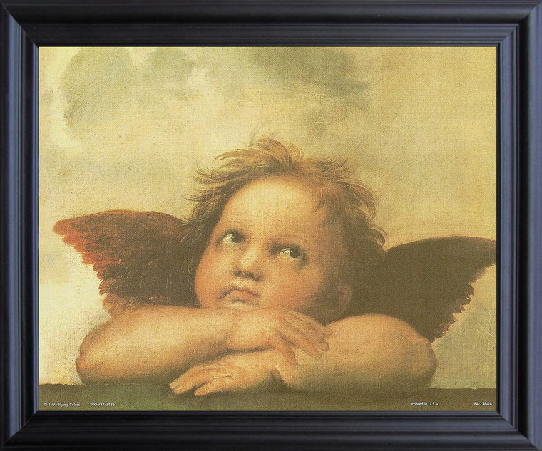 Raphael Right Cherub Little Angel Of Sistine Madonna Wall Decor  Black Framed Art Print Poster  (19x23)