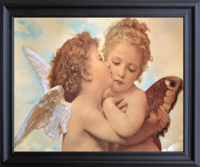 William-Adolphe Bouguereau The First Kiss Wall Decor  Black Framed Art Print Poster  (19x23)