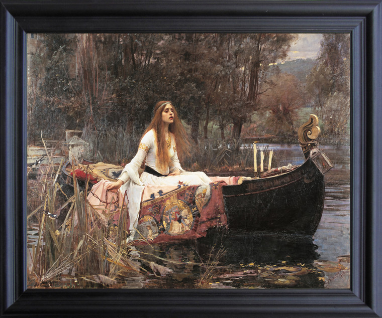 The Lady Of Shalott John Waterhouse Boat Picture Black Framed Art  Print Poster (19x23)