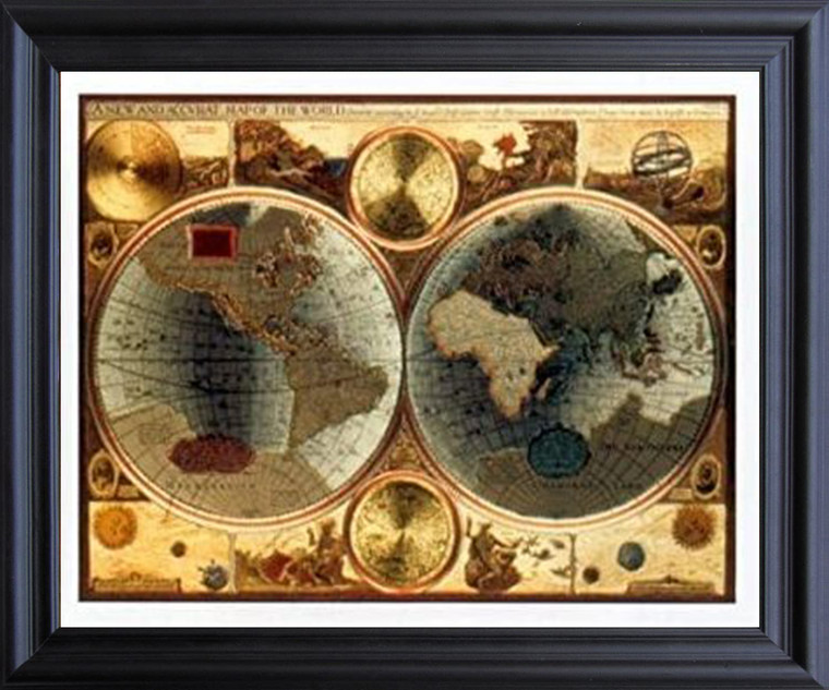 A New and Accvrat Map of the World Vintage Wall Decor Black Framed Art Print Poster (19x23)