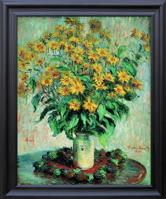 Claude Monet Sunflowers Floral Wall Décor Black Framed Art Print Poster (19x23)