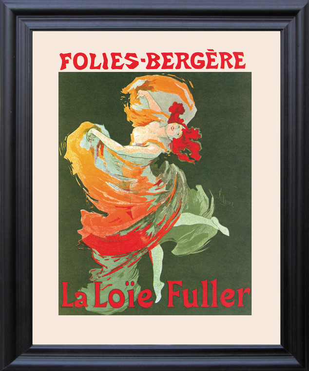 Fashion Girl Dance Dancing La Loie Fuller Folies Bergere Vintage Wall Decor Black Framed Art Print Poster (19x23)