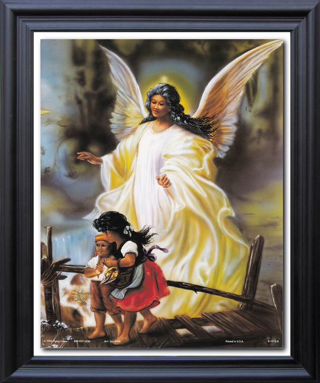 Guardian Angel With Children On Bridge Religious And Spiritual Wall Décor Black Framed Art Print Poster (19x23)