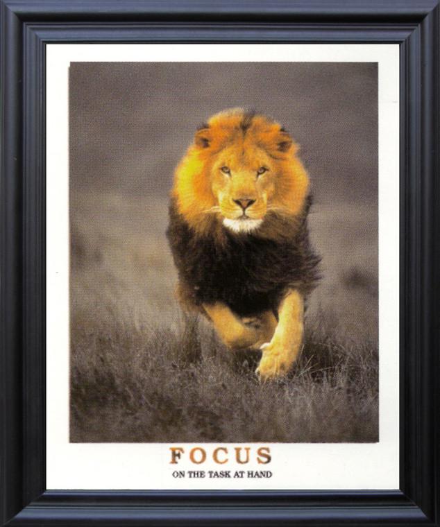 Running Lion Focus On The Task At Hand Wildlife Inspirational Animal  Black Framed Art Print Poster (19x23)