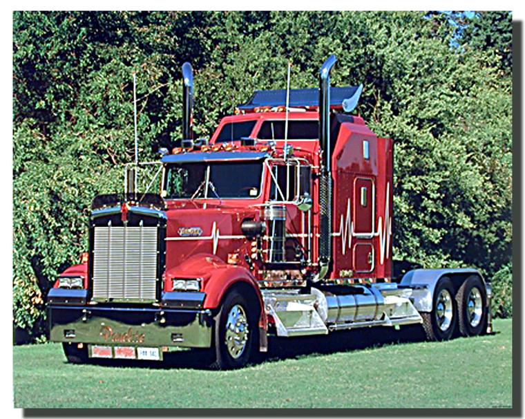 Red Kenworth Big Rig Richard Stockton Truck Poster