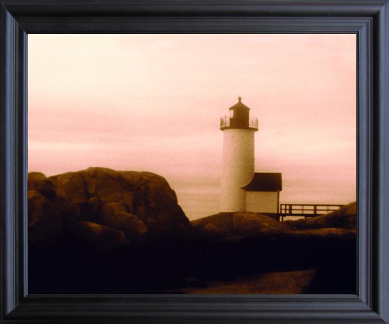 Misty Morning New England Lighthouse Landscape Wall Decor Black Framed Art Print Poster (19x23)
