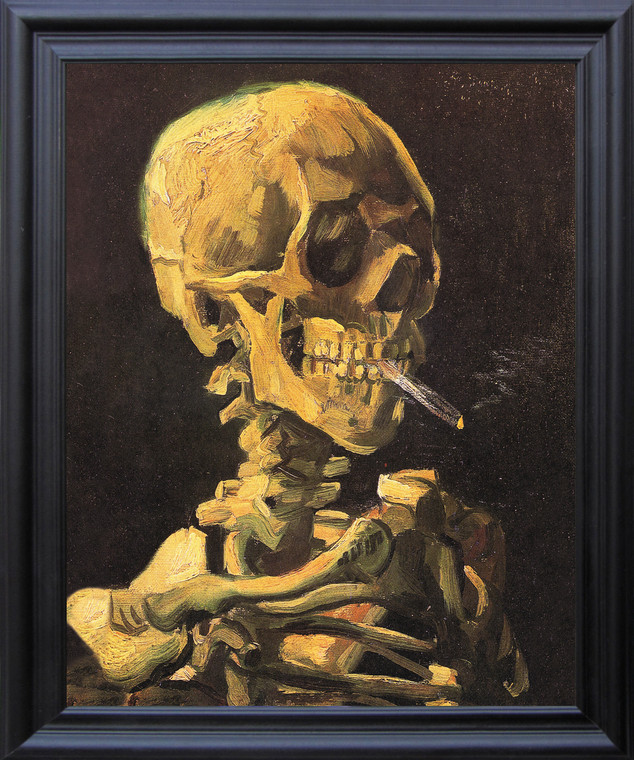 Don't Smoke Skeleton with Cigarette Vincent Van Gogh Black Framed Art Print Poster (19x23)