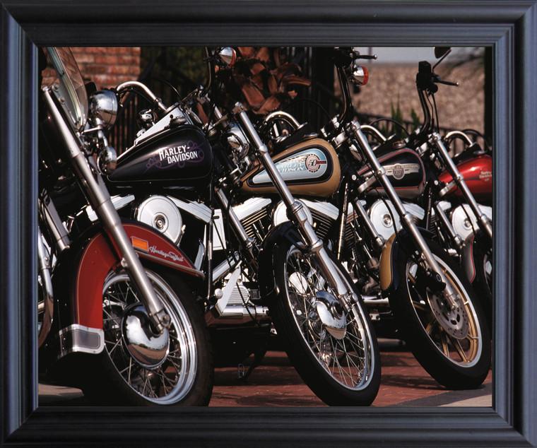 Harley Davidson Motorcycles In Row Wall Decor Black Framed Art Print Poster (19x23)