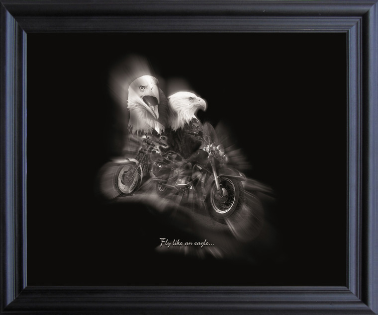 "Black and White Motorcycle ""Fly Like an Eagle"" Wall Decor Black Framed Art Print Poster (19x23)"