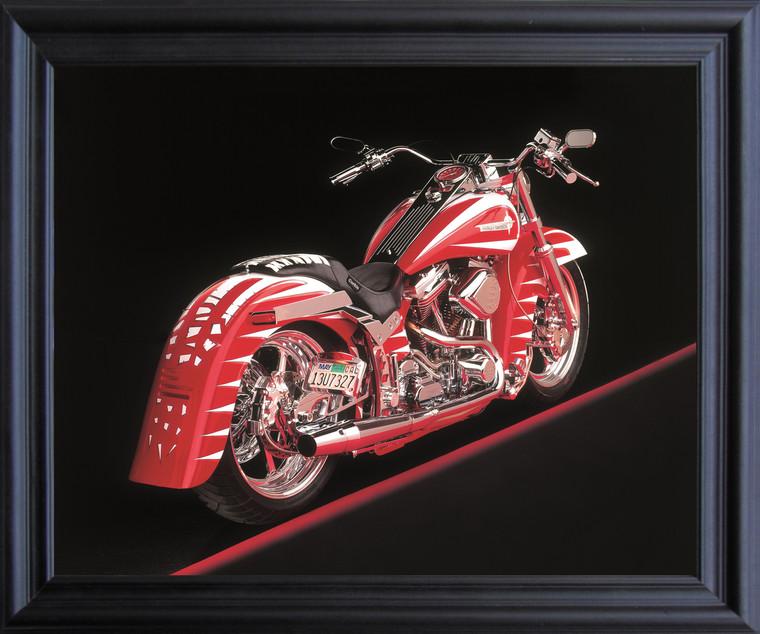 Poster Of Vintage Harley Davidson Motorcycle Wall Decor Black Framed Art Print Poster (19x23)