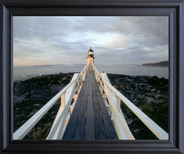 Massachusetts Nantucket Brant Point Lighthouse Black Framed Art Print Poster (19x23)