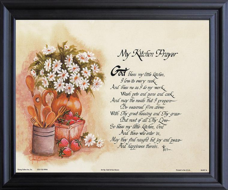 My Kitchen Prayer Wall Decor Black Framed Art Print Poster (19x23)