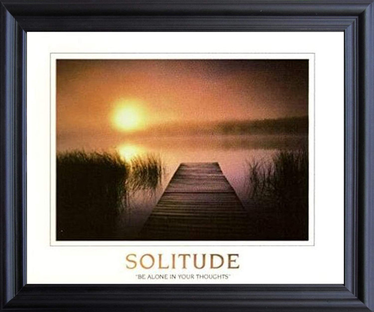 The Solitude of the Sea Sunset Inspirational Nature Wall Decor Black Framed Art Print Poster (19x23)