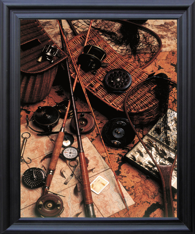 Poster Of Old Wooden Fly Rod Reel and Fishing Lure Wall Decor Black Framed Art Print (19x23)