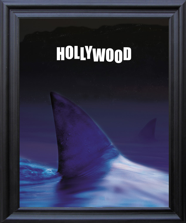 Ocean Whale with Hollywood Sign Picture Black Framed Art print Poster (19x23)
