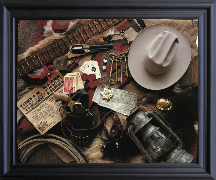 Old West Montage Stagecoach Western Wall Decor Black Framed Art Print Poster (19x23)