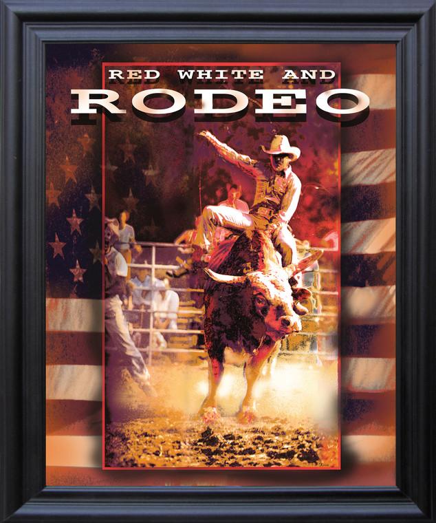 Vintage Western Rodeo Cowboy Horse Riding Wall D??cor Black Framed Art Print Poster (19x23)