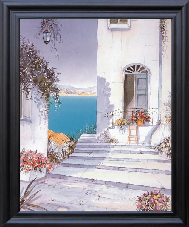 Mediterranean Views Seascape Picture Wall D??cor Black Framed Art Print Poster (19x23)