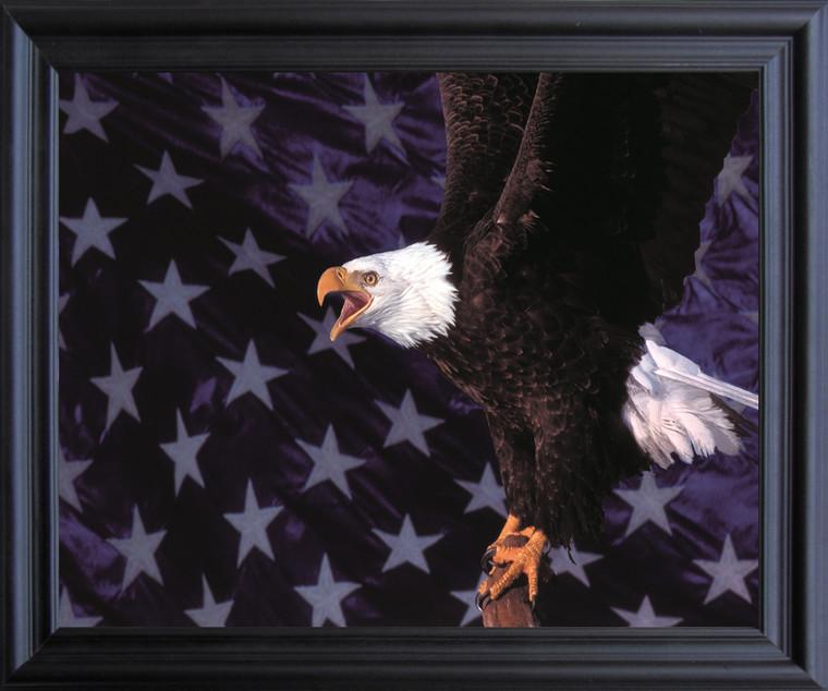 American Bald Eagle Flying Wall Decor Black Framed Art Print Poster (19x23)