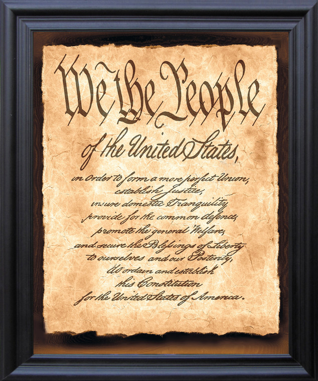 """Constitution of the United States """"We the People of the United States"""" Wall D??cor Black Framed Art Print Poster (19x23)"""
