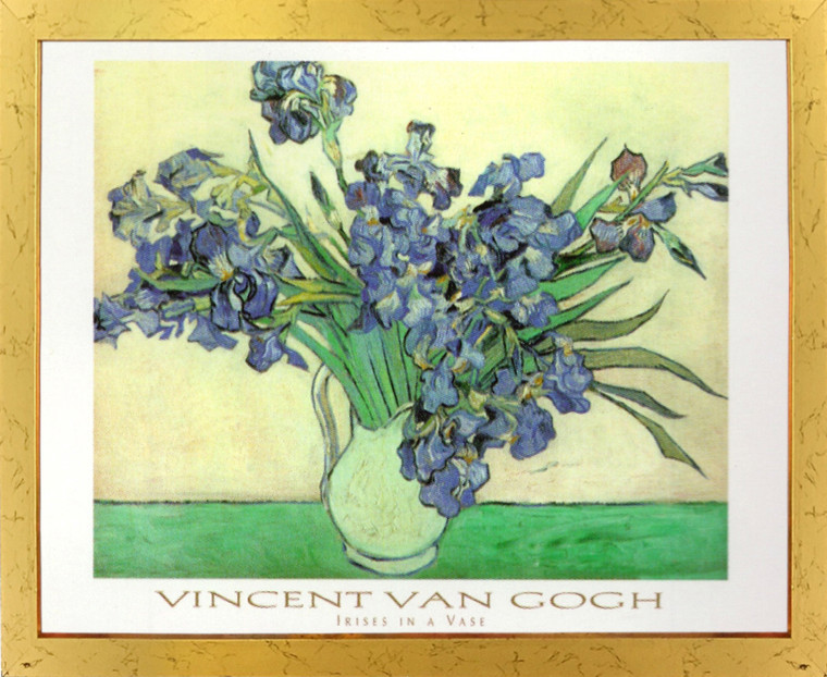 Vincent Van Gogh Iris Flower in vase Floral Golden Framed Art Print Poster (18x24)