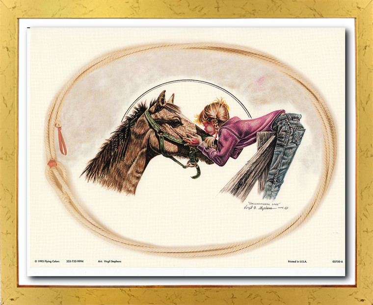Western Cowgirl Unconditional Love By Virgil Stephens Wall Decor Golden Framed Art Print Poster (18x24)